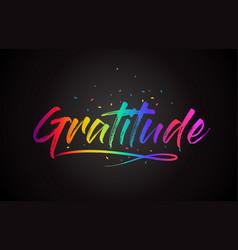 Gratitude word text with handwritten rainbow vector