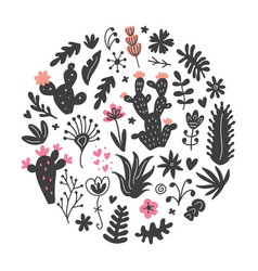hand drawn wild cactus flowers tropical plants vector image