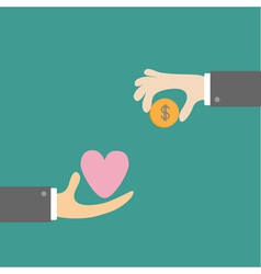 Hands with heart and money dollar coin Exchanging vector image