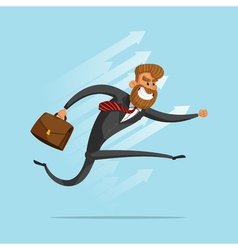 Happy businessman or manager rushes to success vector
