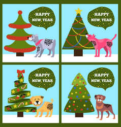 Happy new year banners with dotted puppy tree set vector