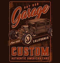 Hot rod custom garage vintage poster vector