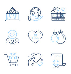 Hotel cross sell and be true icons set circus vector