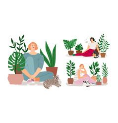 house garden girl relax set vector image