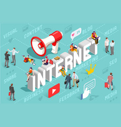 internet content marketing banner vector image