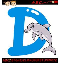 Letter d for dolphin cartoon vector