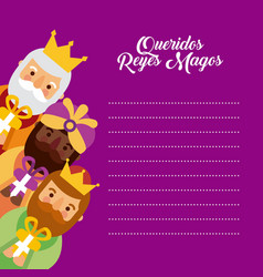 Letter to the three kings of orient celebration vector