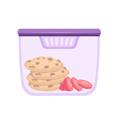 Lunch box with cookie and strawberry healthy food vector