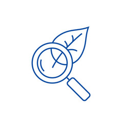 Magnifier glass with leafbiology line icon vector