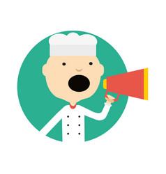 Male cook in uniform with megaphone icon vector