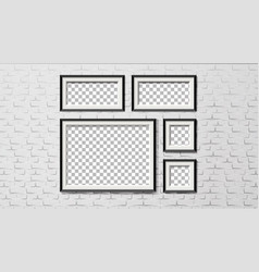 modern frames on brick wall background set vector image