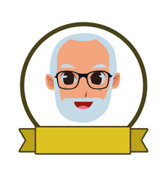 Old man smiling and happy cartoons vector