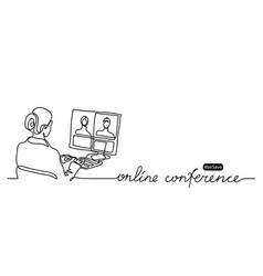 online conference lettering and simple vector image