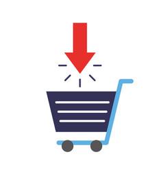 online shopping cart download arrow vector image