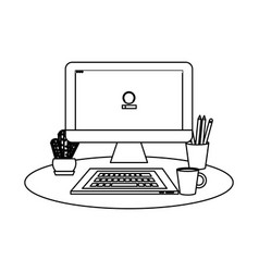 outline office computer with keyboard and coffee vector image