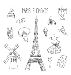 Paris Hand drawn france elements vector image