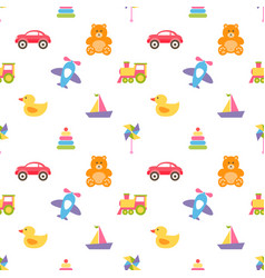 Pattern with colorful baby toys vector