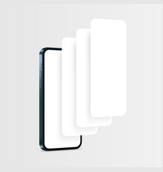 Phone blue mockup with blank app pages vector