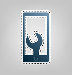 phone icon with settings blue icon with vector image vector image
