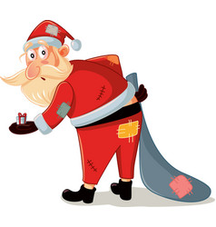 Poor santa with patchy costume and small gift vect vector