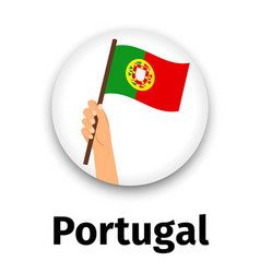 Portugal flag in hand round icon vector