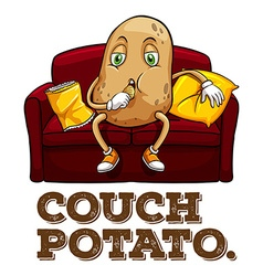 Potato sitting on couch vector