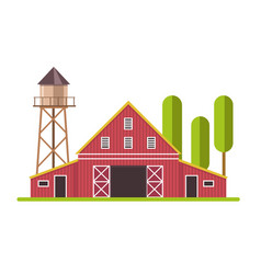 red and white barn and water tower at farm land vector image
