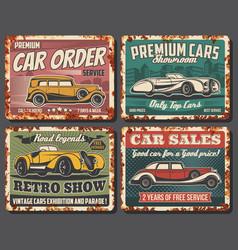 retro cars sale service auto museum show vector image