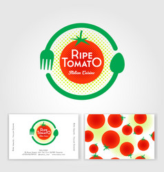 Ripe tomato cafe logo fork spoon like circle vector