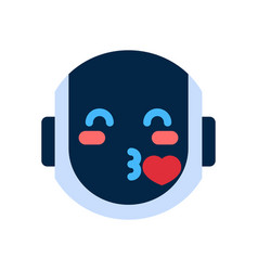 Robot face icon smiling face blowing kiss emotion vector