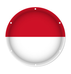 Round metallic flag of indonesia with screw holes vector