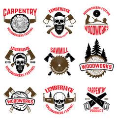 set of wood works design elements vector image