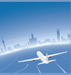 Shanghai skyline flight destination vector