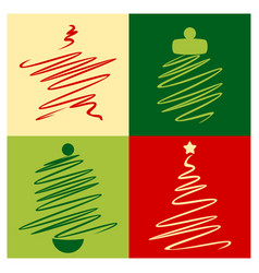 Sketch christmas icon set with star bell vector