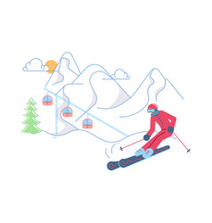 skier on winter mountain landscape vector image