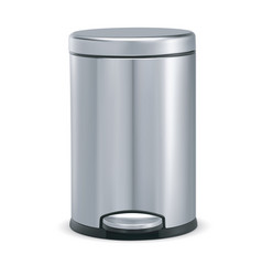 Stainless steel trash can with pedal 3d vector