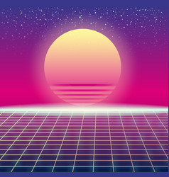 Synthwave retro futuristic landscape with sun and vector