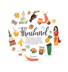 thailand cartoon banner travel vector image