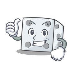 Thumbs up dice character cartoon style vector