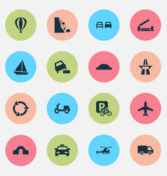 Transportation icons set with hump bridge falling vector