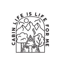 vintage adventure line art badge vector image