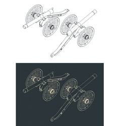 Vintage artillery cannon isometric drawings vector
