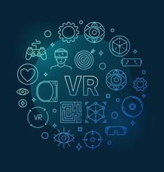 vr concept round blue outline vector image