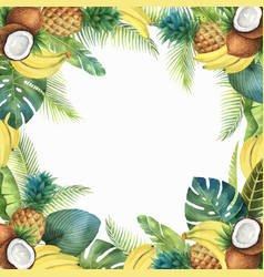Watercolor tropical card fruits and palm vector