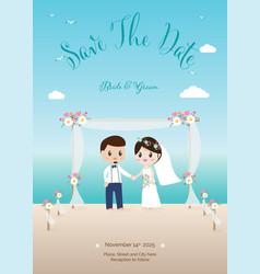 wedding couple on beach invitation card eps10 vector image