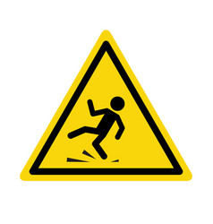 wet floor sign safety yellow slippery floor vector image
