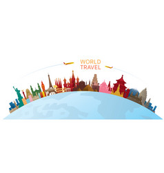 World skyline curve landmarks silhouette colorful vector