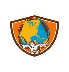 Atlas carrying globe crest woodcut vector