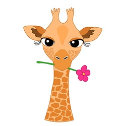 Cute Hand-drawn Cartoon Giraffe Holding a Flower vector image vector image