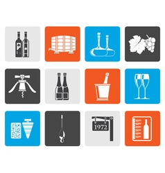 Flat Wine and drink Icons vector image vector image